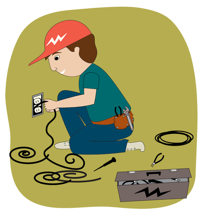 industrial: An electrician working  He has a toolbox, wires, and various tools  Illustration