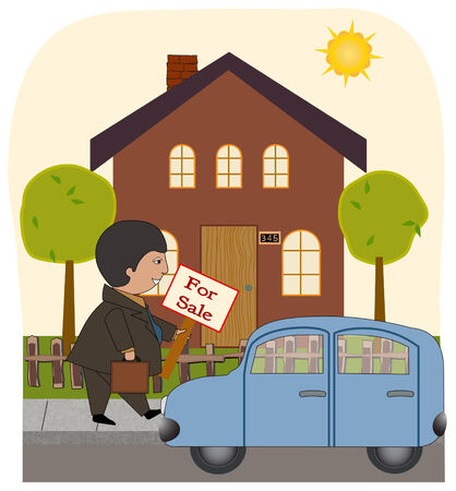 A realtor leaves his car and goes to put up a for sale sign in front of a home  Illustration