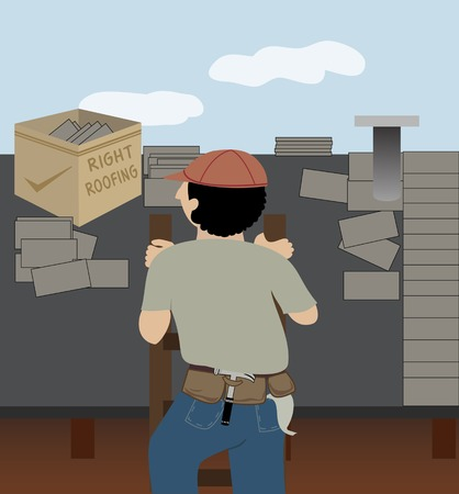 A man whose job is roofing climbs a ladder to go to work