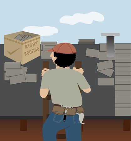 whose: Un uomo il cui compito � quello di copertura sale una scala per andare al lavoro