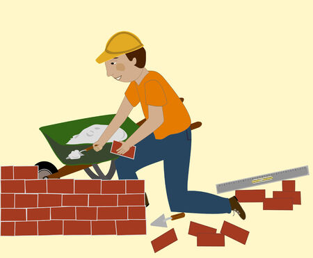 Man in a hard hat sets brick and mortar  He has a trowel, level, and wheelbarrow Ilustração