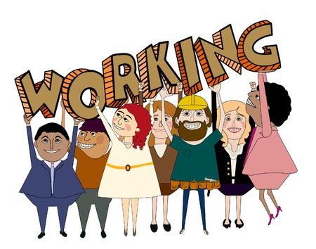 Seven diverse people happy because they are working, carrying letters spelling  working