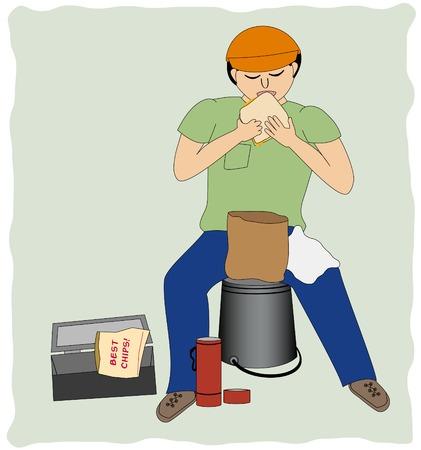 pause repas: Un homme travaillant prend sa pause d�jeuner Illustration