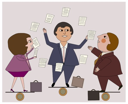 workload: Two men, one woman in business suits juggling the workload as a team Illustration