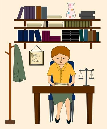 Een vrouw advocaat in haar kantoor, met boeken, kranten, de schaal van rechtvaardigheid, en een award Stock Illustratie