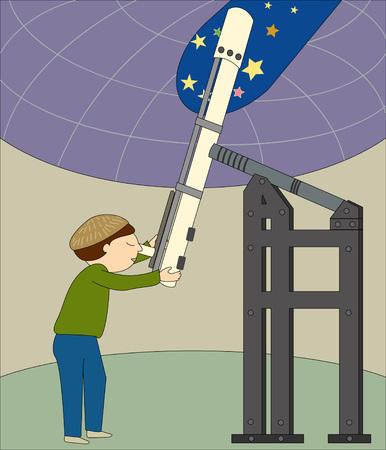 Een astronoom kijkt door zijn telescoop in een observatorium Stock Illustratie