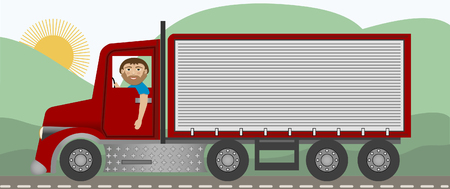 A trucker driving on the highway in a big rig Vector