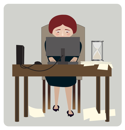 hurried: A woman business manager on her computer, an hour glass running out and papers strewn about
