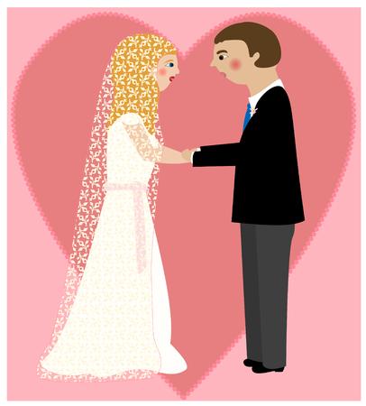 A young couple on their wedding day Illusztráció
