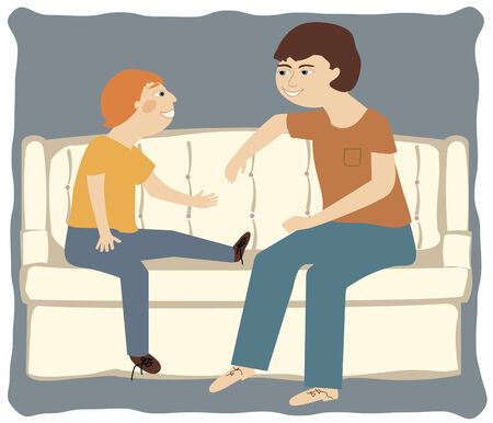 A father and son talking casually on a sofa  Vector