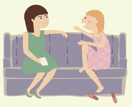 Une mère et sa fille de parler ensemble sur un canapé Banque d'images - 28524669
