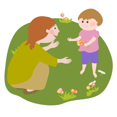 Young woman talking to a child who offers her flowers