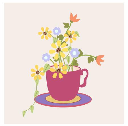 庭から葉と花、グラフィック スタイル カップ