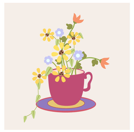 Graphic style cup with flowers, leaves from the garden Stock fotó - 28566975