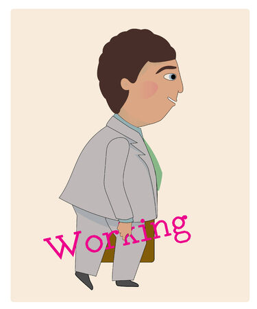 """A business man walking with his briefcase and holding the word """"working"""" Illustration"""
