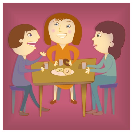 coffee table: A man and two women talking over coffee at the office Illustration