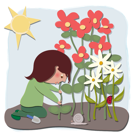 A woman working in the garden  There is a lady bug and a snail, flowers, leaves, dirt, trowel
