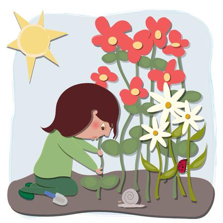 lady bug: Eine Frau, die im Garten gibt es eine Lady Bug und eine Schnecke, Blumen, Bl�tter, Schmutz, Kelle Illustration