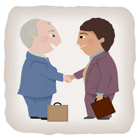 grey hair: Two men in a handshake  One has grey hair, one is a person of color  Illustration