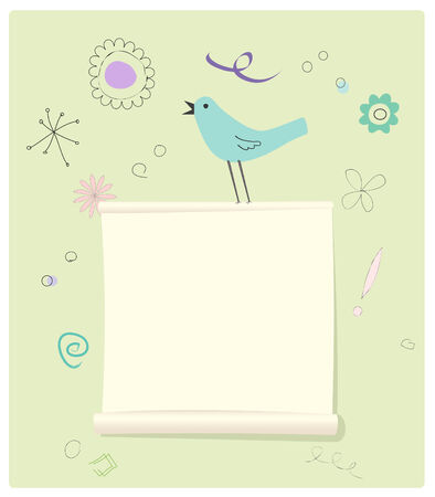 Scrolled Message page with a bird and fun doodles