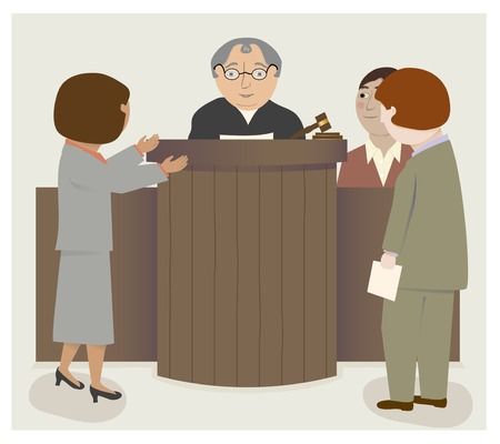 Een rechtszaal scène met rechter, advocaten, getuige