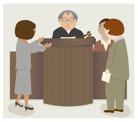 arbitrator: Una scena tribunale con il giudice, gli avvocati, testimoni