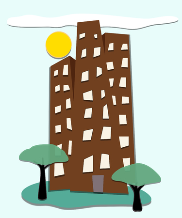 Stylized illustration of tall buildings with sun, trees, lawn