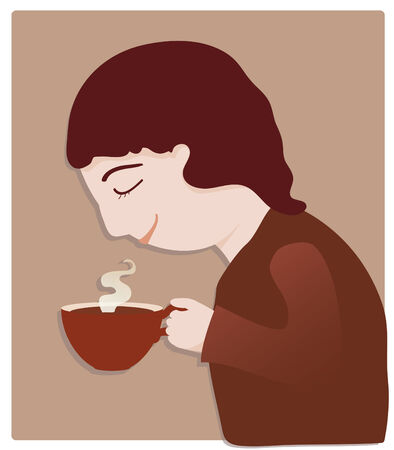 smelling: A person enjoys drinking coffee