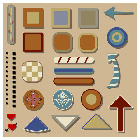 A collection of button-like shapes, rounded squares,  arrows etc  with shadows, some ornamental, stripes,  checks, hearts Illusztráció