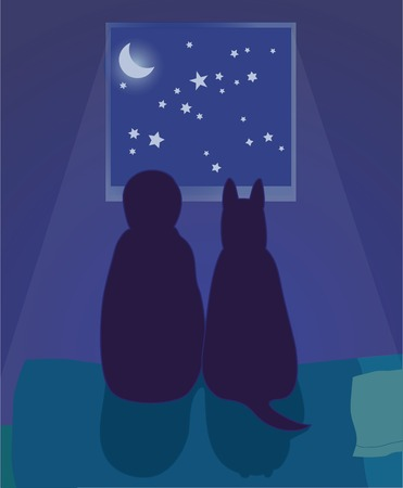 A child and dog sitting on the bed looking out a window at the night sky