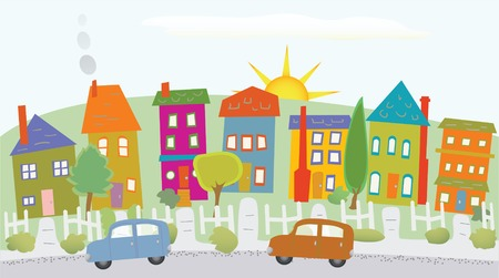 Stylized neighborhood houses on a hill, two cars, sunshine, trees Illustration