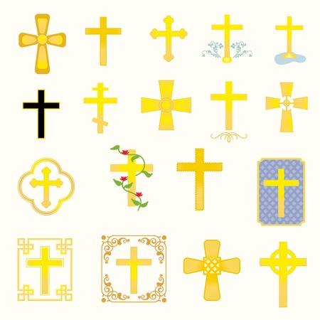 pasqua cristiana: Diciotto croci diverse in stile e il tipo Vettoriali