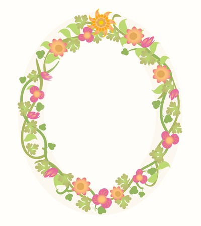 An oval frame of pretty summertime flowers suitable for a card, scrapbook, note pad, letter, or   web  Illusztráció