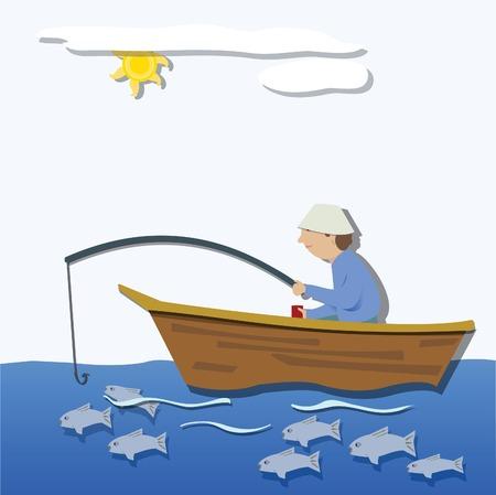 Un homme assis dans son bateau, la pêche
