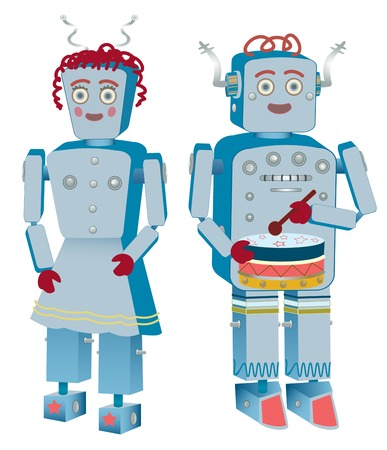 Two robots, a male and a female, ready for work