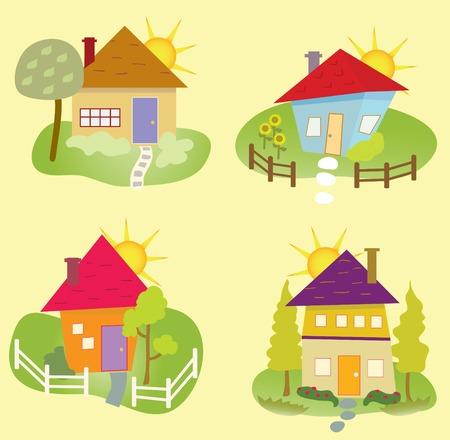 Quatre maisons stylisées représentant la saison d'été Banque d'images - 30727439