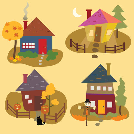 Four stylized homes in the season of Autumn