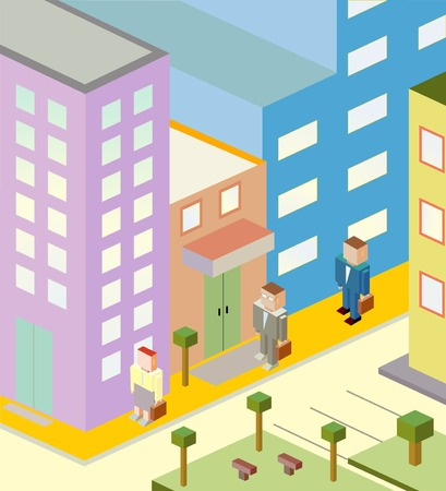 Isometric illustration of a city with three people