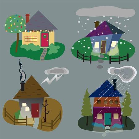 Quatre maisons stylisées représentant la saison de l'hiver Banque d'images - 30832476