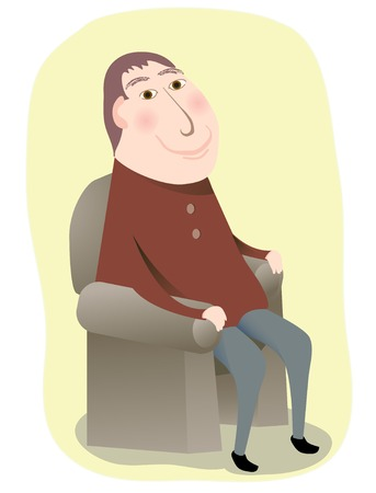 relaxed: A smiling man sitting in a chair in relaxed manner Illustration