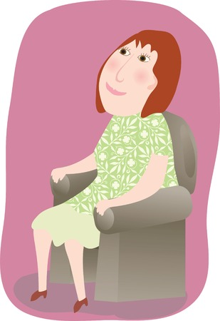 Une femme assise confortablement dans un fauteuil Banque d'images - 31365800