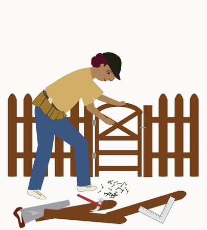 Man working on a fence, with tools Stock Illustratie