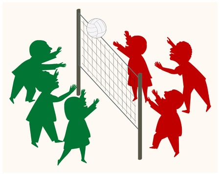 Deux équipes avec les deux hommes et les femmes jouer au volleyball. Une métaphore d'affaires. Banque d'images - 31760404