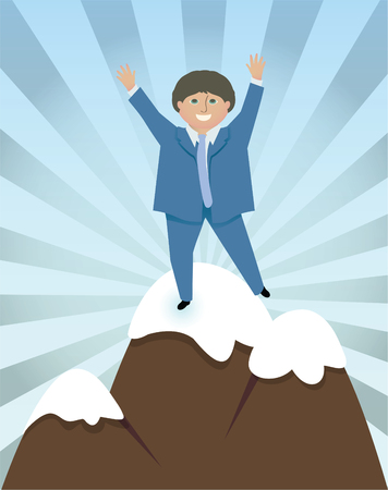 Jubilant man in a suit celebrates reaching the top of a mountain