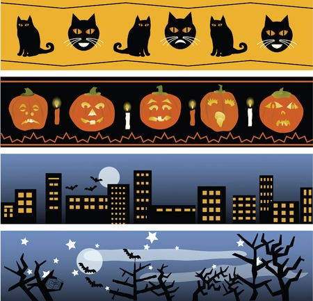 Four original Halloween banners, for use in invitations, cards, web sites, etc.  Ilustrace
