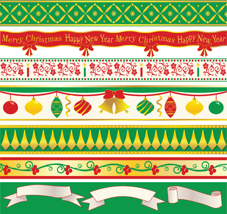 Seven elegant original Christmas ribbons and three speech ribbons