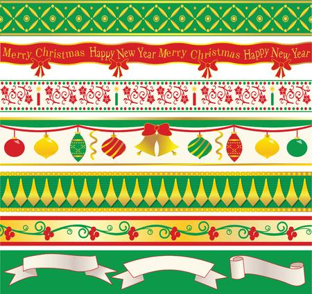 Seven elegant original Christmas ribbons and three speech ribbons Stock fotó - 32541416