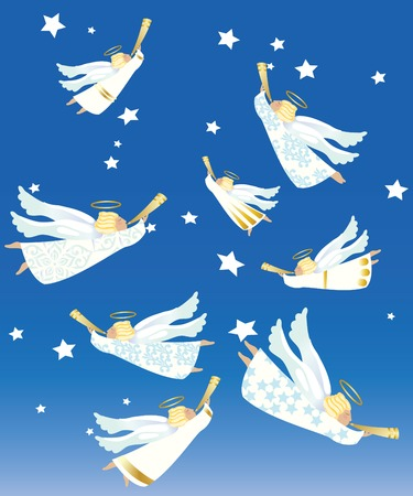 Eight angels with trumpets announcing the birth of Jesus Christ