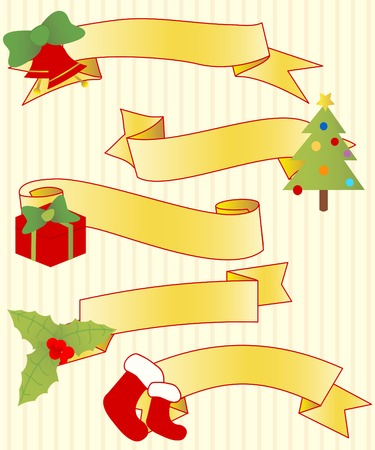Five ribbons with Christmas elements Ilustrace