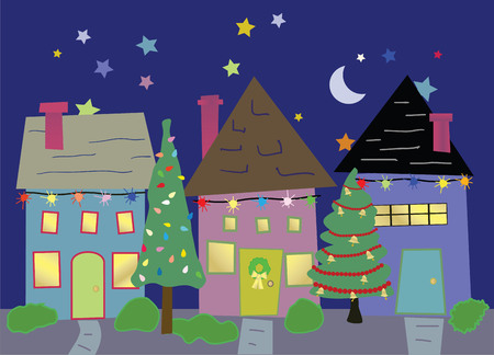 Neighborhood homes decorated for Christmas Vector